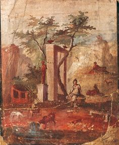 Fresco - Landscape- Parides as a shepherd, from Pompeii. Naples, National Archaeological Museum. Kind concession MiBACT