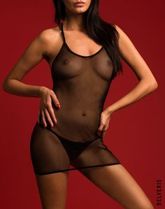 BELVERIS LINGERIE. Sexy fishnet chemise.