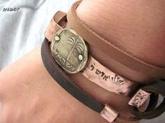 Free shipping, Mens Leather Bracelet, Leather bracelet,Womens leather bracelet,Copper bracelet,Cuff bracelet.Wrap bracelet.Old Israeli coin,