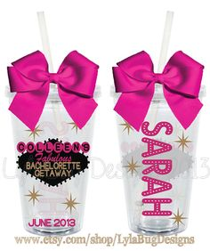So cute!!! --Las Vegas Bachelorette Party Personalized 16oz by LylaBugDesigns, $15.00