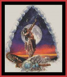 Free Native American Cross Stitch | Moon Dance Tapestry Chart ** PDF by email