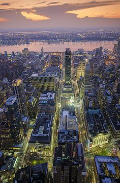 Midtown Manhattan and Hudson River at Dusk, NYC