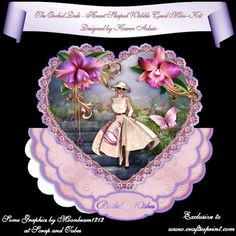 """The Orchid Dale Heart Shaped Wobble Card on Craftsuprint designed by Karen Adair - This two sheet mini-kit will make this beautiful, large scallop wobble card, with a heart shaped scallop-edged over the edge topper. The kit contains a card, approximately 8"""" in diameter, and plenty of decoupage. The kit also includes 6 sentiment tags, one of which I have left blank so that you can personalise if you wish.  Now available for download…"""
