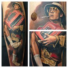 Fear & Loathing Colour Portrait Tattoo by Randy Engelhard