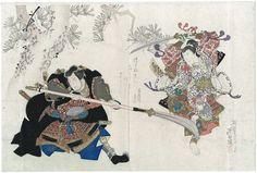 Gigado Ashiyuki / Arashi Kitsusaburo II als Kumasaka Chohan+Sawamura Kunitaro II als Ushiwakamaru