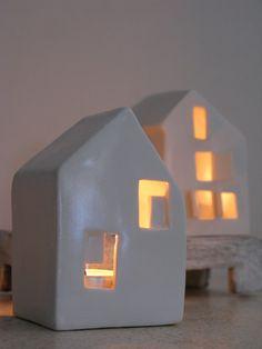 Modern ceramic candle holder love houses