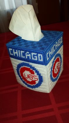 Chicago Cubs tissue box cover - plastic canvas