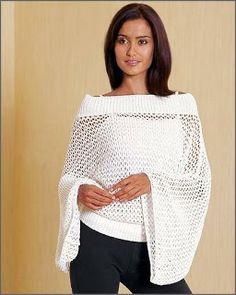 Openweave Top with Wing Sleeves free crochet pattern. A great number of beautiful projects here! I will have to get Julie to teach me how to crochet just so I can make this! Crochet Gratis, Crochet Diy, Crochet Woman, Love Crochet, Crochet Tops, Cardigan Au Crochet, Crochet Shirt, Crochet Scarves, Crochet Clothes