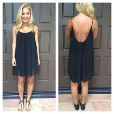 Black Low Back Chiffon Melody Dress