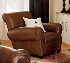 Manhattan Leather Recliner #potterybarn - living room with fireplace