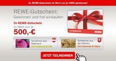 REWE 500 Euro Gutschein Gewinnspiel. Jetzt kostenlos teilnehmen.