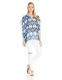 Kensie Women's Geo Tile Top, Bright Cobalt Combo, Large- #fashion #Apparel find more at lowpricebooks.co - #fashion