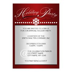 Snowflake Ruby Red Office Holiday Party Invitation