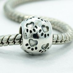 ".925 Sterling Silver "" Paws on Round "" Charm Bead Compatible with Pandora Chamilia Kay Troll Bracelet"