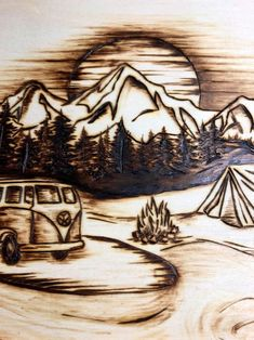 Wood burned mountain camping,Wood burned mountain camping, What's wood burning ? The pine burnt by shading strategy by transferring an image on wo. Wood Burning Stencils, Wood Burning Tool, Wood Burning Crafts, Wood Burning Patterns, Stencil Wood, Diy Wood Projects, Wood Crafts, Woodworking Projects, Diy Crafts