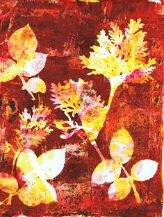 Rose Leaves & Wormwood in Red Field watercolor monotype on gelatin plate by Sharon Giles Rose Leaves, Gelatin, Plate, Watercolor, Prints, Red, Painting, Pen And Wash, Dishes