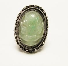 Chinese Export Silver Translucent Carved Apple Green Jade Ring  by Alohamemorabilia