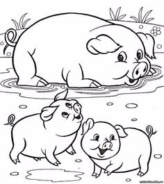 Farm Animal Coloring Pages, Easy Coloring Pages, Disney Coloring Pages, Coloring Pages For Kids, Coloring Books, Art Drawings For Kids, Drawing For Kids, Cartoon Drawings, Animal Drawings