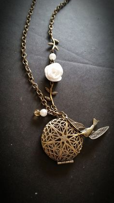 White Rose and Bird --Aromatherapy Necklace * Essential Oil Diffuser Locket pendant