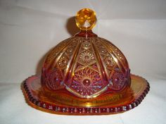 Indiana Heirloom Sunset Red Carnival Glass Butter Dish by MysticSpiritShoppe, $35.00