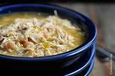 Easy White Chicken Chili full of spicy chili flavor -- perfect for Phase 1 and Phase 3.