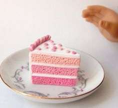 Ombre Pink cake slices 2 for American Girl by Tastydollcreations
