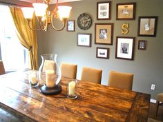 gray walls and khaki fabric gallery wall has black frames with alternating white or khaki matts Dining Room Colors, Dining Room Wall Decor, Dinning Table, Room Decor, Dining Rooms, Decorating Your Home, Decorating Ideas, Sweet Home, Decor Ideas