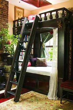 Bed and Window Nook! What a wonderful idea! Put the bench under the window and put the bed above. This makes a great reading nook.