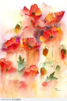 Rachel Mcnaughton - 'Field Poppies' Beautiful blends of color from the abstract flowers give an impressionist feel to this painting. Watercolor Poppies, Abstract Watercolor, Watercolor And Ink, Watercolor Paintings, Watercolours, Watercolor Projects, Abstract Flowers, Monet, Flower Art