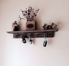 Rustic Shelf with Key Holder in Dark Walnut by CountryMadeMemories, $34.00