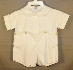 Vintage Baby Boy Two Piece Outfit, Shorts and Top, White, By Imperial, 1950's by ilovevintagestuff on Etsy