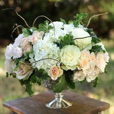 Low centerpiece with curly willow, white hydrangea, Mondial roses, Quicksand roses, Sahara roses Floral Centerpieces, Wedding Centerpieces, Wedding Table, Wedding Bouquets, Wedding Decorations, Centrepieces, Curly Willow Centerpieces, Peonies Centerpiece, Purple Bouquets