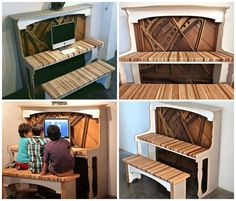 This computer desk, is designed in the shape of a piano and its old parts. Joinery Brandon Monk uses secondary Furniture and converts it into something new