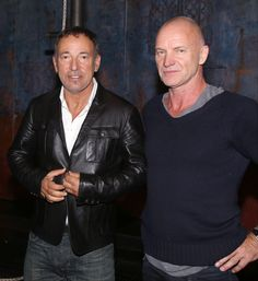 """Rock stars Bruce Springsteen and Sting enjoy a quiet night at the Broadway musical """"The Last Ship,"""" which features music and lyrics by Sting, on Oct. 15 in New York"""