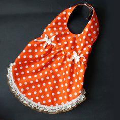 Orange polka pet dress by ILoveTjCrafts on Etsy
