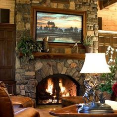 ♥ Fireplace of Rustic Cabin, Cottage or Lodge ♥ Note the stone front -- not river rock