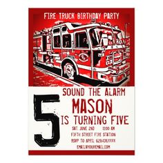 Fire Truck Firefighter Kids Birthday Invitations SOLD on Zazzle