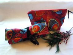 Jewelry Roll Peacock Feathers Pouch by nanioriginals on Etsy, $37.00