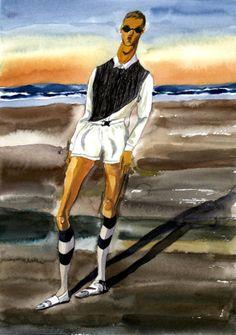 Jiiakuann-Beach-Boy-Nordic-Magazine-2 Costume Design Sketch, Fashion Maker, Graphic Illustration, Amazing Art, Christopher Kane, Illustrators, Marc Jacobs, Drawings, Boys