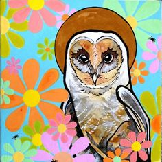 Owl with Golden Halo and Retro Daisies. Buy now at Artfinder. #owl #barnowl