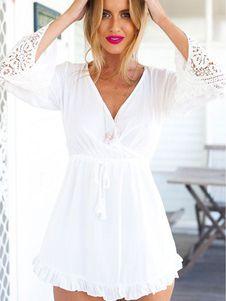 Vestido Mini blanco cordón profundo V vestido de verano