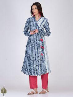 Indigo-White Shibori Cotton Angrakha by Jaypore Indigo, Angrakha Style, Ikkat Dresses, Casual Dresses, Girls Dresses, Salwar Designs, Indian Outfits, Indian Clothes, Clothing Patterns