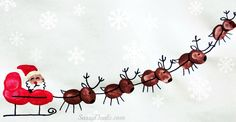 Santa Sleigh w/ Flying Reindeer Fingerprint Craft For Kids #Christmas fingerprint art project | http://www.sassydealz.com/2013/12/santa-sleigh-w-flying-reindeer.html