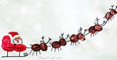 Santa Sleigh w/ Flying Reindeer Fingerprint Craft For Kids #Christmas fingerprint art project | http://www.sassydealz.com/2013/12/santa-sleigh-w-flying-reindeer.html