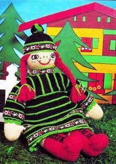 PDF Vintage Giant Rag Doll Toy Knitting Pattern FOLK 1970s Easy Knitting, Knitting Patterns, Crochet Patterns, Green Goddess, Folk Fashion, Green Wool, Retro Home Decor, Retro Toys, Vintage Crafts