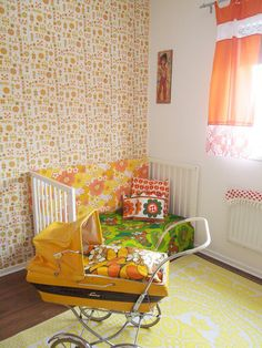 Ack! Orange and pink flower power decor. the boo and the boy: Eclectic kids' rooms