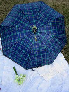 Navy Green Plaid Parasol English Plaid by AshTreeMeadowDesigns