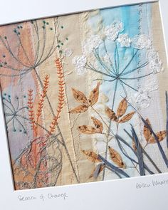 Alison is a Devon based textile artist inspired by the coast and countryside. Free Motion Embroidery, Free Machine Embroidery, Embroidery Art, Embroidery Designs, Embroidery Hoops, Fabric Cards, Fabric Postcards, Textile Fiber Art, Textile Artists