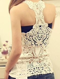 Details: Lace &Hollow design Sleeveless Material80%:Cotton+20%Polyester Regular wash Free Shipping ! We accept Paypal、Visa、MasterCard and American Express . SIZE(IN/CM) US BUST LENGTH One Size 4/6 35.