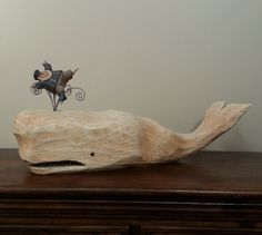 Moby Dick & Ahab Primitive Folk Art Woodcarving by JoyHallFolkArt